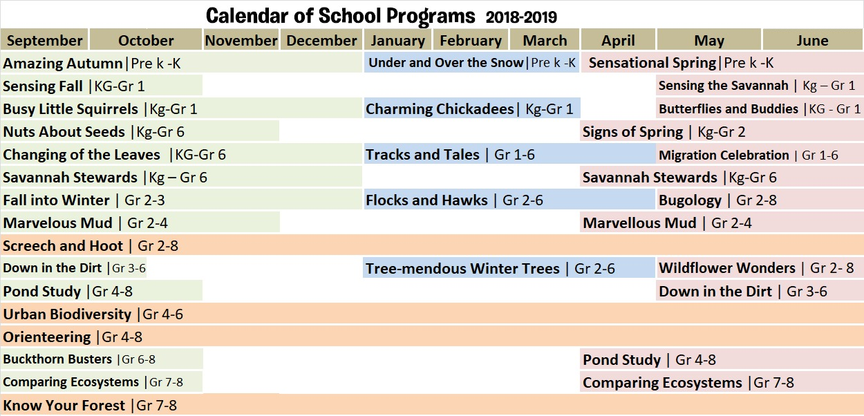 Calendar of School Programs